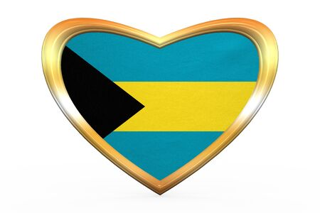 bahamian: Bahamian national official flag. Patriotic symbol, banner, element, background. Correct color. Flag of Bahamas in heart shape isolated on white background. Golden frame, fabric texture 3D illustration