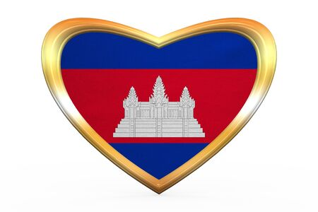 Cambodian national official flag. Patriotic symbol, banner, element. Correct colors. Flag of Cambodia in heart shape isolated on white background. Golden frame, fabric texture. 3D illustration
