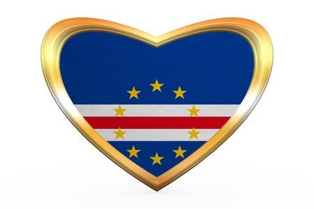 Cape Verdean national official flag. African patriotic symbol, banner, element. Correct colors. Flag of Cape Verde in heart shape on white background. Golden frame, fabric texture. 3D illustration