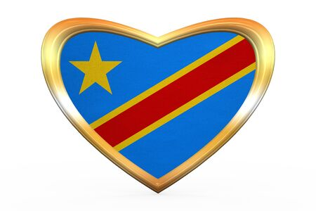 DR Congo national official flag. African patriotic symbol, banner, element. Correct color. Flag of Democratic Republic of the Congo in heart shape on white. Golden frame fabric texture 3D illustration