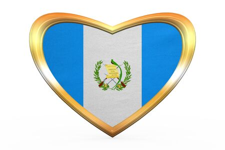 guatemalan: Guatemalan national official flag. Patriotic symbol, banner, element. Correct colors. Flag of Guatemala in heart shape isolated on white background. Golden frame, fabric texture. 3D illustration