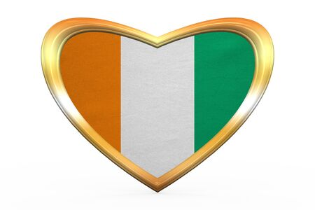 Cote D Ivoire national official flag. African patriotic symbol, banner, element. Correct colors. Flag of Ivory Coast in heart shape on white background. Golden frame, fabric texture. 3D illustration