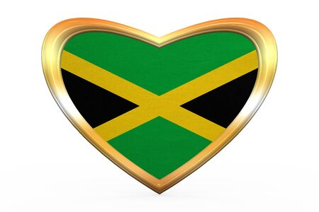 jamaican: Jamaican national official flag. Patriotic symbol, banner, element, background. Correct color. Flag of Jamaica in heart shape isolated on white background. Golden frame, fabric texture 3D illustration