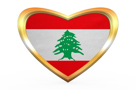lebanese: Lebanese national official flag. Patriotic symbol, banner, element, background. Correct color. Flag of Lebanon in heart shape isolated on white background. Golden frame, fabric texture 3D illustration