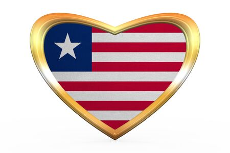 Liberian national official flag. African patriotic symbol, banner, element. Correct colors. Flag of Liberia in heart shape isolated on white background. Golden frame, fabric texture. 3D illustration