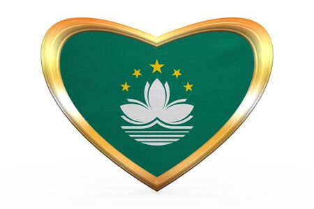 macau: Macanese official flag. Patriotic chinese symbol, banner, element. Macau is special region of PRC. Correct colors. Flag of Macau in heart shape on white. Golden frame, fabric texture. 3D illustration Stock Photo