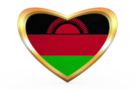 malawian flag: Malawian national official flag. African patriotic symbol, banner, element. Correct colors. Flag of Malawi in heart shape isolated on white background. Golden frame, fabric texture. 3D illustration Stock Photo