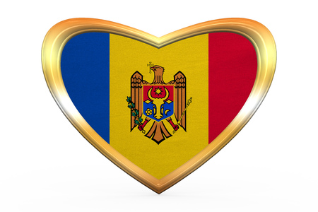 moldovan: Moldovan national official flag. Patriotic symbol, banner, element, background. Correct color. Flag of Moldova in heart shape isolated on white background. Golden frame, fabric texture 3D illustration