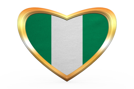 country nigeria: Nigerian national official flag. African patriotic symbol, banner, element. Correct colors. Flag of Nigeria in heart shape isolated on white background. Golden frame, fabric texture. 3D illustration