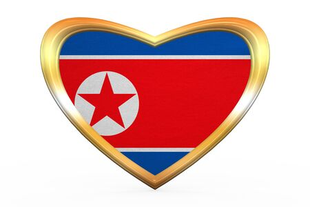 North Korean national official flag. Patriotic DPRK symbol, banner, element. Correct color. Flag of North Korea in heart shape isolated on white background. Golden frame fabric texture 3D illustration