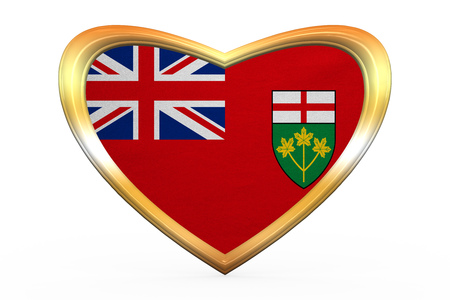 provincial: Ontarian provincial flag, patriotic element and official symbol. Canada banner. Correct color. Flag of Canadian province of Ontario in heart shape on white. Golden frame fabric texture 3D illustration Stock Photo