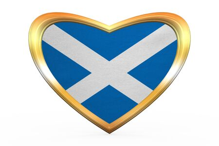 Scottish national official flag. Patriotic symbol, banner, element. Correct colors. Flag of Scotland in heart shape isolated on white background. Golden frame, fabric texture. 3D illustration
