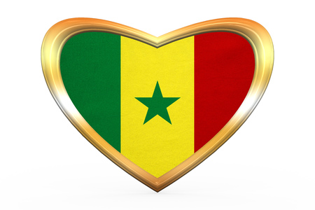 senegalese: Senegalese national official flag. African patriotic symbol, banner, element. Correct colors. Flag of Senegal in heart shape isolated on white background. Golden frame, fabric texture. 3D illustration Stock Photo