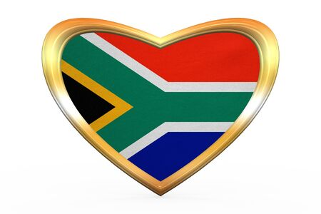 South African national official flag. Patriotic symbol, banner, element. Correct colors. Flag of South Africa in heart shape isolated on white background. Golden frame, fabric texture. 3D illustration Stock Photo