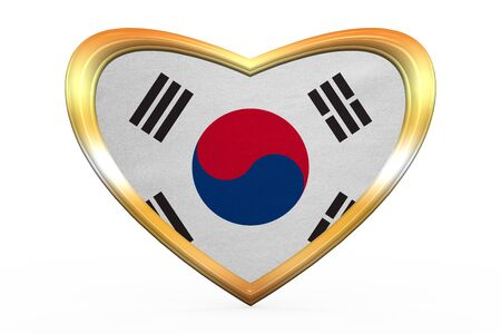 korean national: South Korean national official flag. Patriotic symbol, banner, element. Correct colors. Flag of South Korea in heart shape isolated on white background. Golden frame, fabric texture. 3D illustration Stock Photo