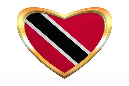 trinidadian: Trinidadian and Tobagonian national official flag. Patriotic symbol, banner, element. Correct colors. Flag of Trinidad and Tobago in heart shape on white. Golden frame, fabric texture. 3D illustration