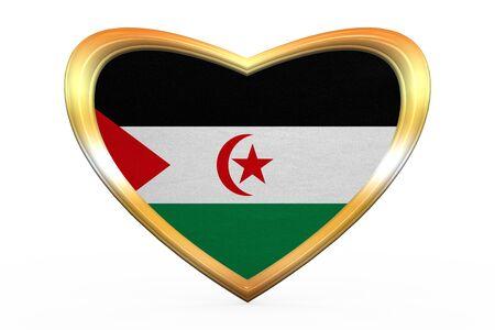 sahrawi arab democratic republic: Sahrawi national official flag. Western Sahara patriotic symbol. SADR banner, element. Flag of Sahrawi Arab Democratic Republic in heart shape on white. Golden frame, fabric texture. 3D illustration Stock Photo