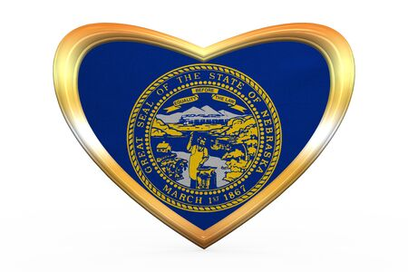 Flag of the US state of Nebraska. American patriotic element. USA banner. United States of America symbol. Nebraskan official flag in heart shape on white. Golden frame, fabric texture 3D illustration