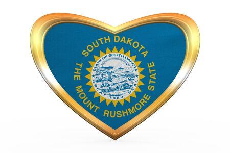 Flag of the US state of South Dakota. American patriotic element. USA banner. United States of America symbol. South Dakotan flag in heart shape on white. Golden frame, fabric texture. 3D illustration Stock Photo