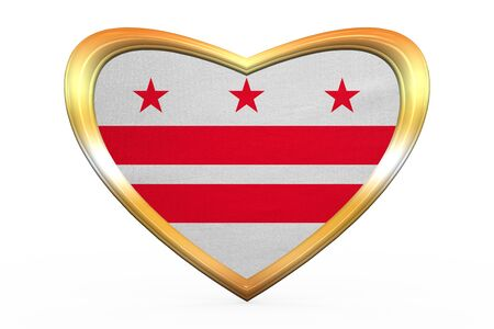 district of columbia: Flag of the District of Columbia. American patriotic element. USA banner. United States of America symbol. Washington, D.C. flag in heart shape on white. Golden frame, fabric texture. 3D illustration