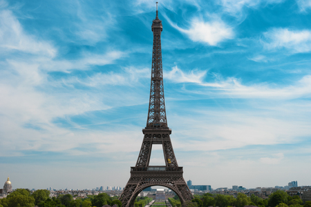 Eiffel Tower and skyline of Paris, France, Europe. Famous monument, most visited place, symbol of Paris. Beautiful european architecture Stock Photo