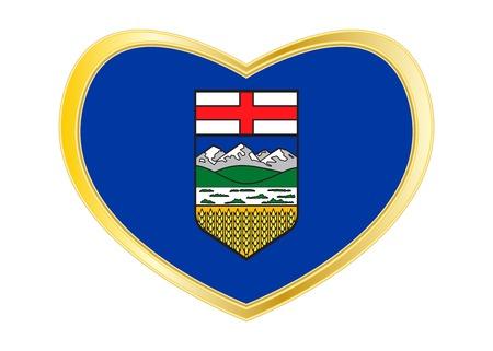Albertan 지방 공식 플래그를 기호입니다. 캐나다 배너 및 배경입니다. 애국적인 요소. 캐나다의 앨버타 지방 심장 모양의 흰색 배경에 고립 된 플래그.  일러스트