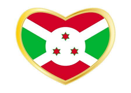 Burundian national official flag. African patriotic symbol, banner, element, background. Correct colors. Flag of Burundi in heart shape isolated on white background. Golden frame. Vector