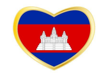 Cambodian national official flag. Patriotic symbol, banner, element, background. Correct colors. Flag of Cambodia in heart shape isolated on white background. Golden frame. Vector