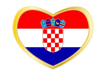 bandera croacia: Croatian national official flag. Patriotic symbol, banner, element, background. Correct colors. Flag of Croatia in heart shape isolated on white background. Golden frame.