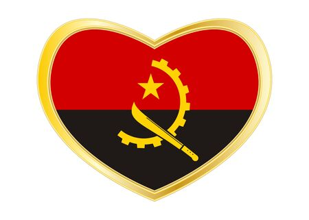 Angolan national official flag. African patriotic symbol, banner, element, background. Correct colors. Flag of Angola in heart shape isolated on white background. Golden frame. Vector Ilustrace
