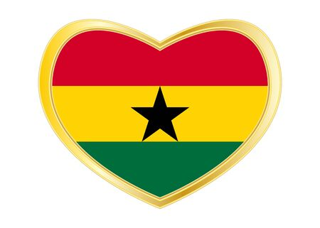 Ghanaian national official flag. African patriotic symbol, banner, element, background. Correct colors. Flag of Ghana in heart shape isolated on white background. Golden frame. Vector Ilustrace