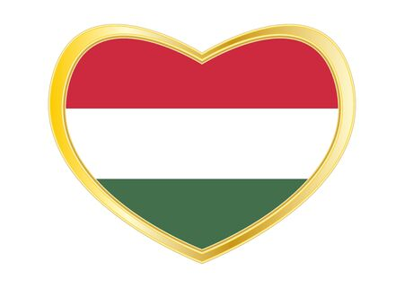 Hungarian national official flag. Patriotic symbol, banner, element, background. Correct colors. Flag of Hungary in heart shape isolated on white background. Golden frame. Vector
