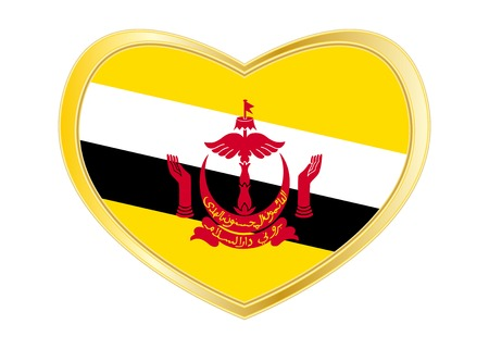 Bruneian national official flag. Patriotic symbol, banner, element, background. Correct colors. Flag of Brunei in heart shape isolated on white background. Golden frame. Vector