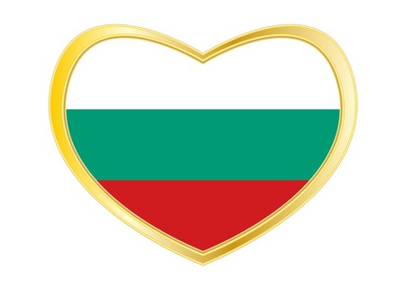 Bulgarian national official flag. Patriotic symbol, banner, element, background. Correct colors. Flag of Bulgaria in heart shape isolated on white background. Golden frame. Vector Illustration