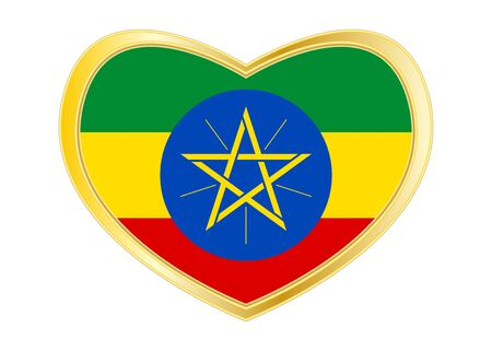 Ethiopian national official flag. African patriotic symbol, banner, element, background. Correct colors. Flag of Ethiopia in heart shape isolated on white background. Golden frame. Vector