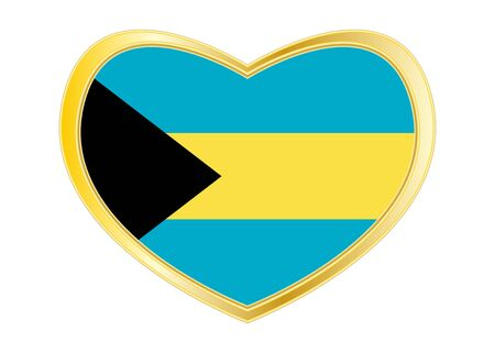 Bahamian national official flag. Patriotic symbol, banner, element, background. Correct colors. Flag of Bahamas in heart shape isolated on white background. Golden frame.