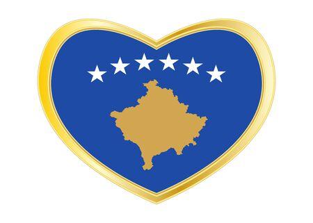 Kosovan national official flag. Patriotic symbol, banner, element, background. Correct colors. Flag of Kosovo in heart shape isolated on white background. Golden frame. Vector Illustration
