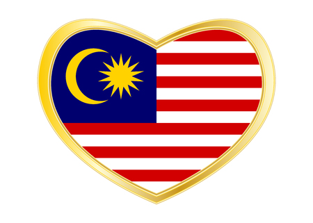 Malaysian national official flag. Patriotic symbol, banner, element, background. Correct colors. Flag of Malaysia in heart shape isolated on white background. Golden frame. Vector Illustration