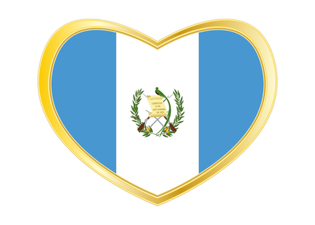 guatemalan: Guatemalan national official flag. Patriotic symbol, banner, element, background. Correct colors. Flag of Guatemala in heart shape isolated on white background. Golden frame. Vector