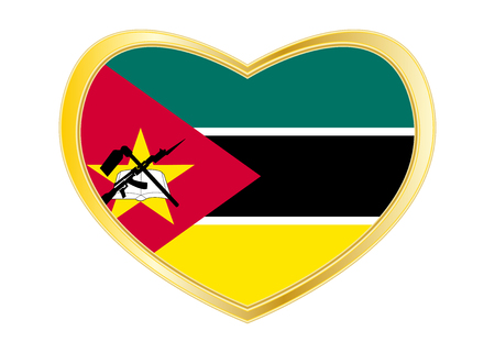 Mozambican national official flag. African patriotic symbol, banner, element. Correct colors. Flag of Mozambique in heart shape isolated on white background.
