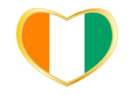 Cote D Drapeau national officiel Ivoire. Symbole patriotique africain, bannière, élément, arrière-plan. Couleurs correctes. Drapeau de la Côte d'Ivoire en forme de coeur isolé sur fond blanc. Cadre doré. Vecteur Banque d'images - 89711186