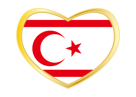 Northern Cyprus national official flag. TRNC patriotic symbol, banner, element, Flag of Turkish Republic of Northern Cyprus in heart shape isolated on white background. Illustration
