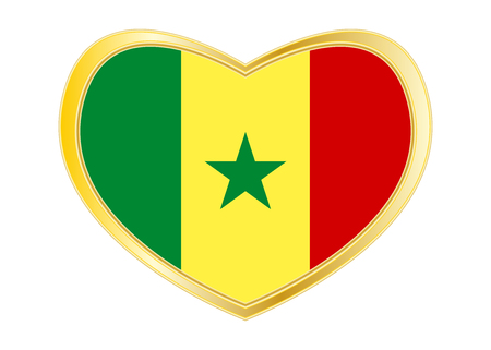 Senegalese national official flag. African patriotic symbol, banner, element. Correct colors. Flag of Senegal in heart shape isolated on white background.