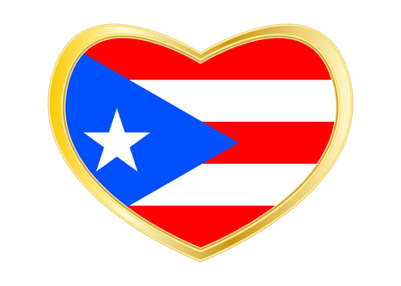 Puerto Rican national official flag. Patriotic symbol, banner, element. Correct colors. Flag of Puerto Rico in heart shape isolated on white background.