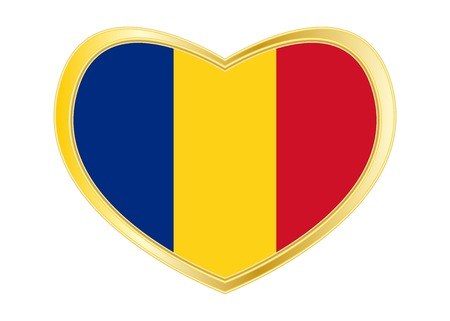 Romanian national official flag. Patriotic symbol, banner, element. Correct colors. Flag of Romania in heart shape isolated on white background. Illusztráció