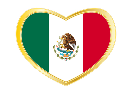 Mexican national official flag. Patriotic symbol, banner, element. Correct colors. Flag of Mexico in heart shape isolated on white background.