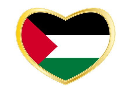 パレスチナの国民の公式の旗。愛国のシンボル、バナー、背景の要素正しい色。ハート形の白い背景で隔離のパレスチナの旗。ゴールデン フレーム
