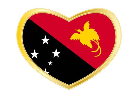 Papua New Guinean national official flag. Papuan patriotic symbol, banner, element, background. Correct colors. Flag of Papua New Guinea in heart shape isolated on white background. Gold frame. Vector Ilustrace