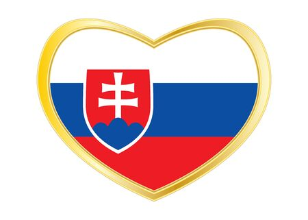Slovakian national official flag. Patriotic symbol, banner, element. Correct colors. Flag of Slovakia in heart shape isolated on white background.