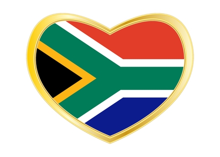 South African national official flag. Patriotic symbol, banner, element, background. Correct colors. Flag of South Africa in heart shape isolated on white background. Golden frame. Vector